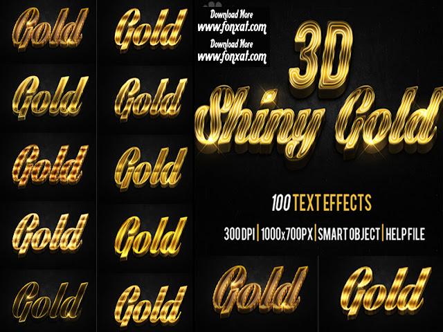 10 تأثيرات ذهبية الشكل روعة بصيغة psd