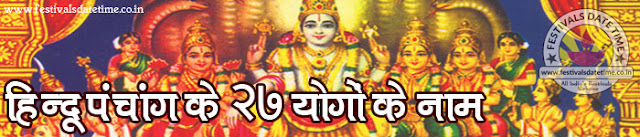 27 योगों के नाम, हिन्दू धर्म के २७ योगों के नाम