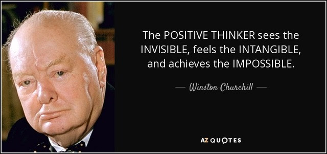 "Winston Churchill quote ""Positive Thinker"""
