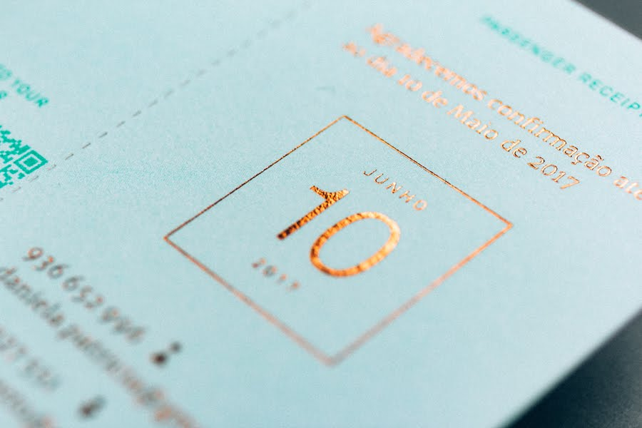 wedding-invitaiton-travel-ticket-turquoise-copper-foil-stamp-Gen-Design-Studio-detail