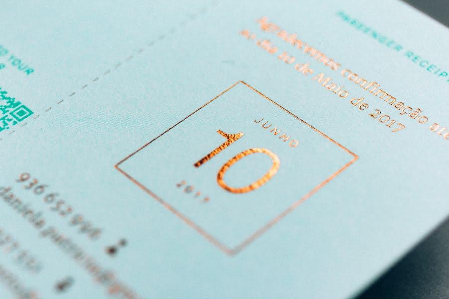wedding-invitaiton-travel-ticket-turquoise-copper-foil-stamp-Gen-Design-Studio-detail