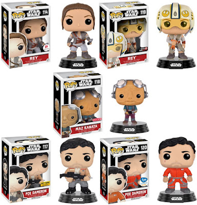 Star Wars: The Force Awakens Retailer Exclusive Pop! Vinyl Figure Variants by Funko - Target Exclusive Maz Kanata, GameStop Exclusive X-Wing Pilot Helmet Rey, Hot Topic Exclusive Poe Dameron, Walgreens Exclusive Ahch-To Rey & FYE Exclusive X-Wing Pilot Poe Dameron