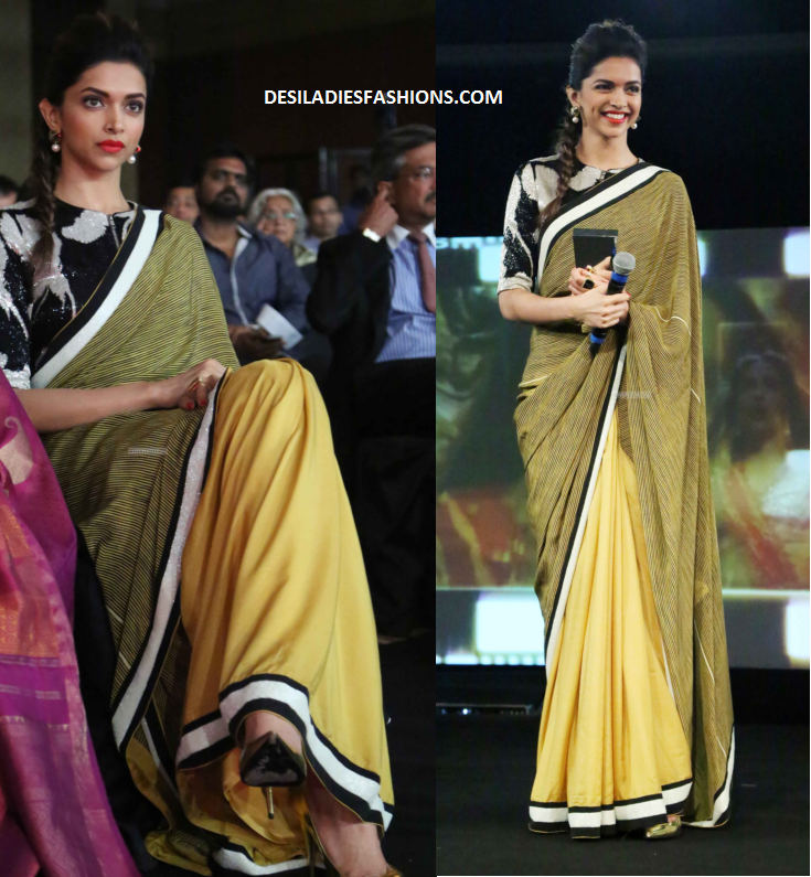 11483e6577fc9d Indian Actress Deepika Padukone wearing Yellow and Olive green combo half  and half saree designed by Dev R Nil. She is spotted with this wear at  NDTV' s ...
