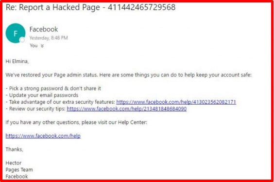 How to report a hacked facebook account or fan page