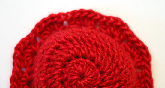Top View of Red Crochet Preemie Hat