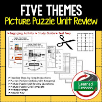 Five Themes, World Geography Picture Puzzle BUNDLE, Test Prep, Unit Review, Study Guide