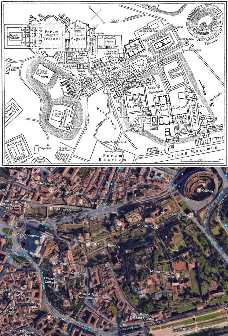 Mapa de Roma Antiga para comparação com a Roma de hoje, 2017