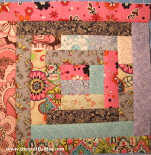 how to make a log cabin quilt block by The Quilt Ladies