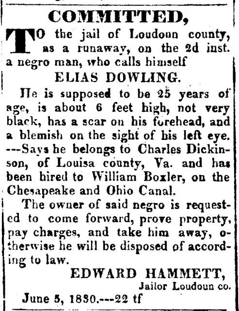 Runaway Slave Advertisement, June 1830