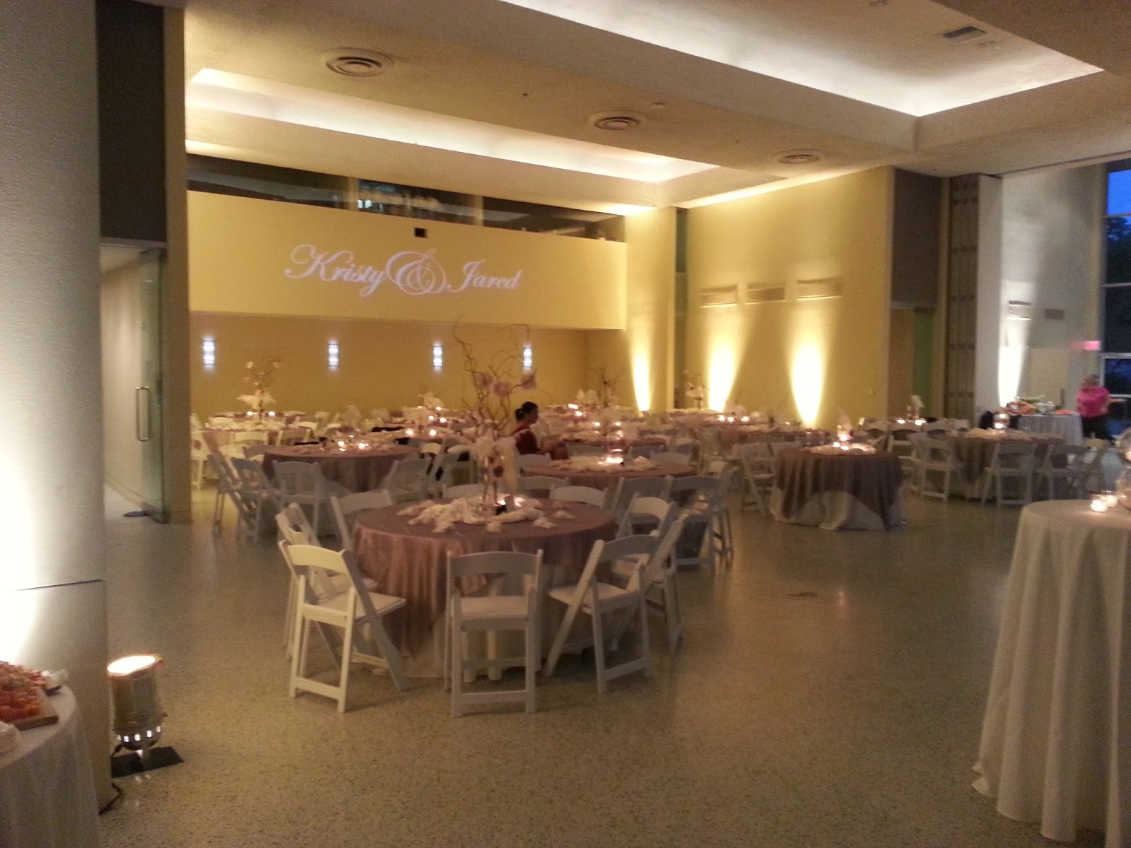 Another View Of Uplighting And Bride Groom Names From Dallas Light Sound At The Grand Hall Texas Discovery Gardens