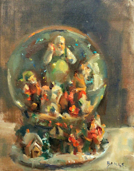 Life As An Artist Jill Banks Christmas Snow Globe Painting