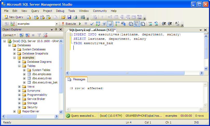 examples: Insert Selected MSSQL Column From Another Table