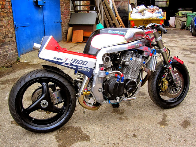 Heavily modified mid '80s Suzuki GSXR 1100 Slab Side - Image Unknown