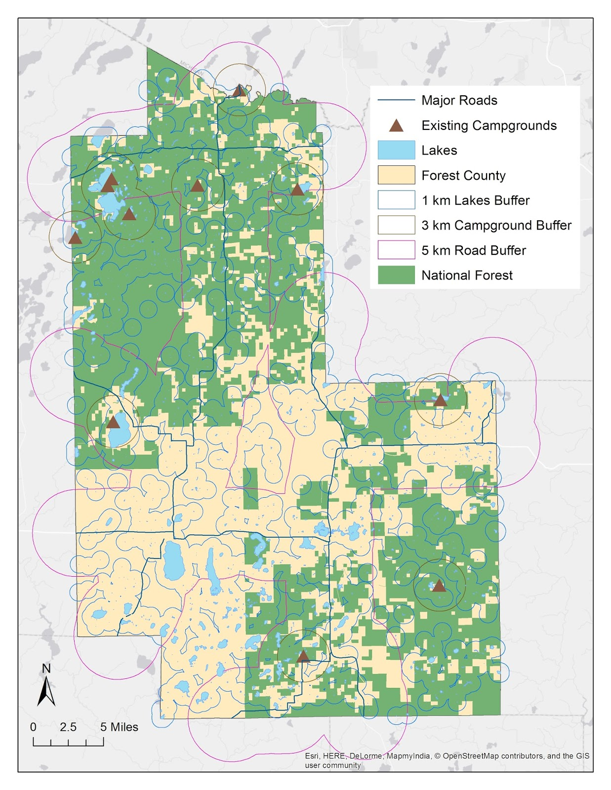 map showing each of the different buffers the existing campgrounds lakes major roads and the national forest within forest county wisconsin