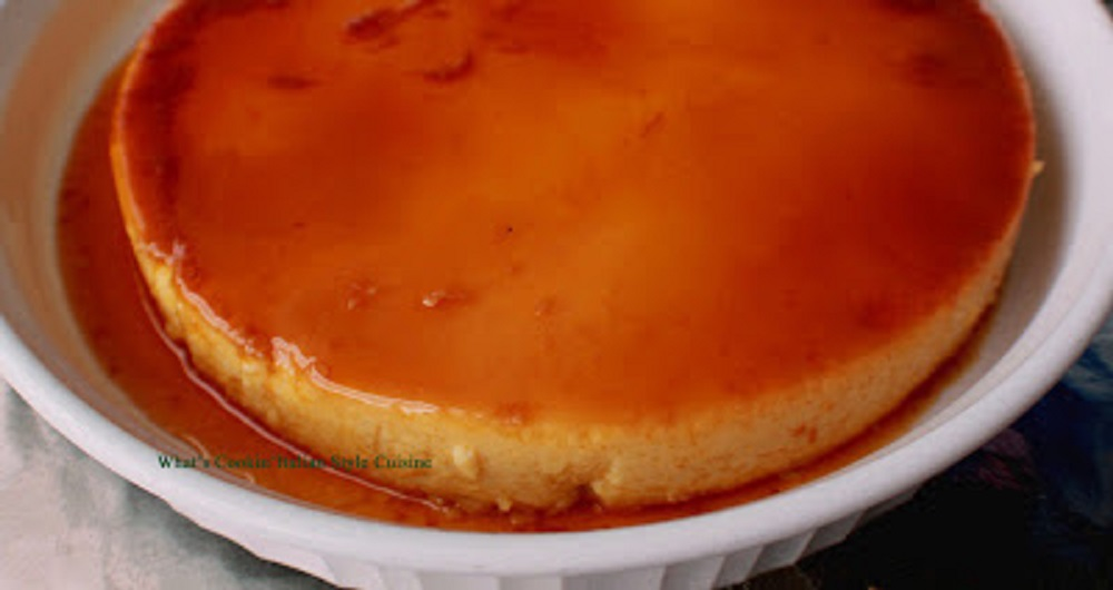 caramel and banana flan that is oozing with rich caramel over the time baked right in the pan. Buttery and delicious