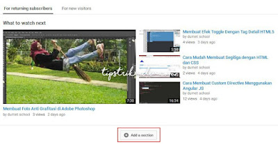 Cara Membuat Section pada Channel YouTube