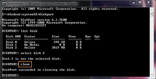 Cara Memformat Hard Drive Menggunakan Command Prompt