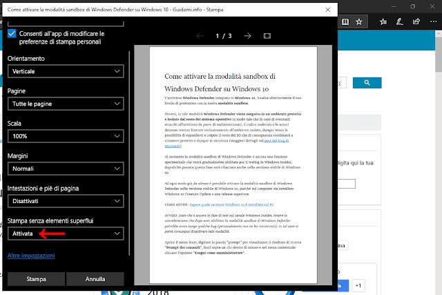 Finestra anteprima di stampa pagina web Microsoft Edge funzione Stampa senza elementi superflui