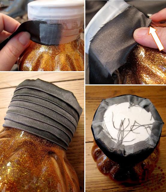 glittered pumpkins - make fabric pumpkin stems