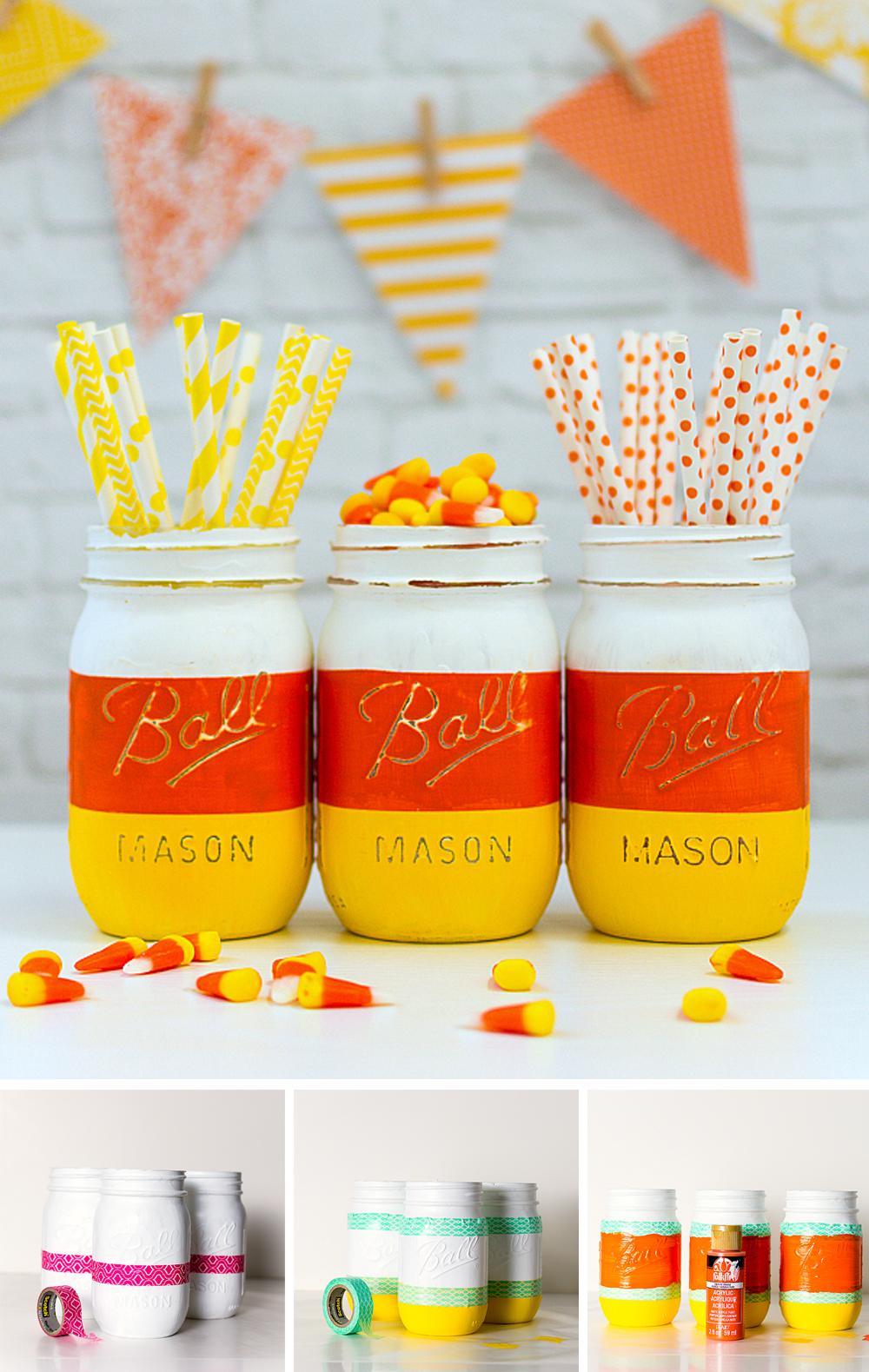 diy para decorar en halloween con tarro dulce de caramelos de maíz blanco naranja y amarillo con golosinas fácil y económico