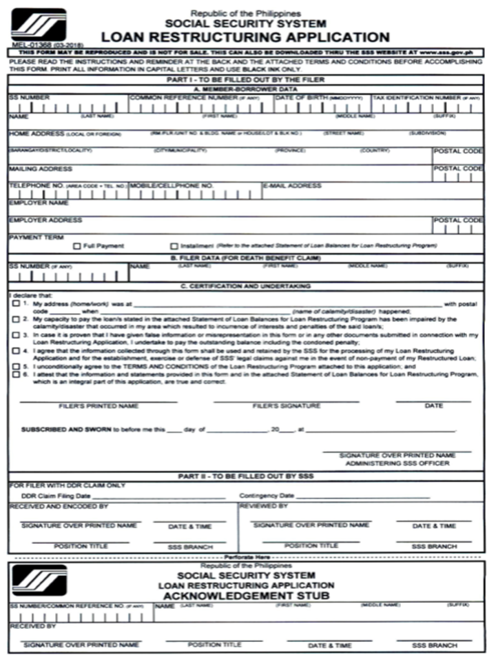 Calamity Sss Application Form Loan Online