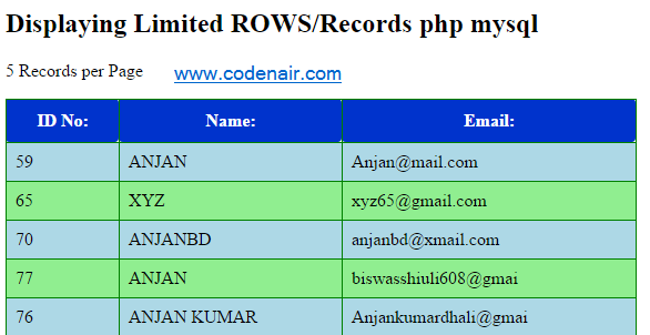 Display Limited Query from Database in php