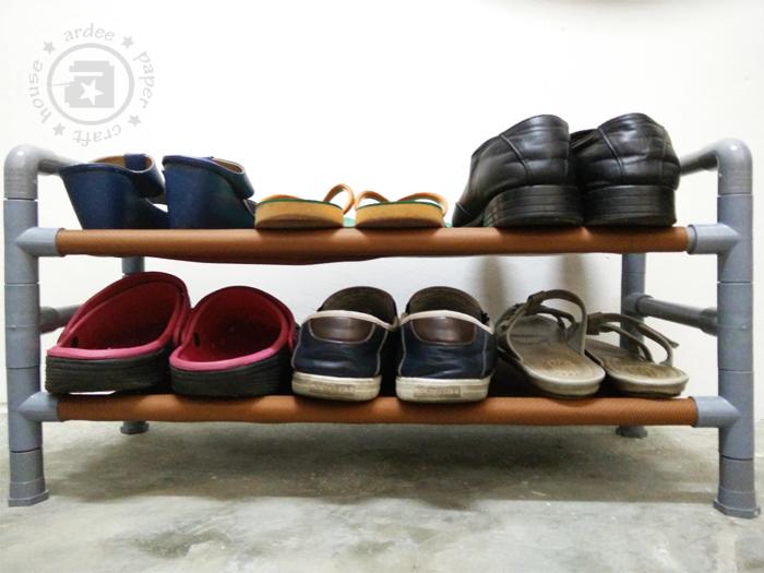 pvc shoe rack ardee 39 s creation. Black Bedroom Furniture Sets. Home Design Ideas