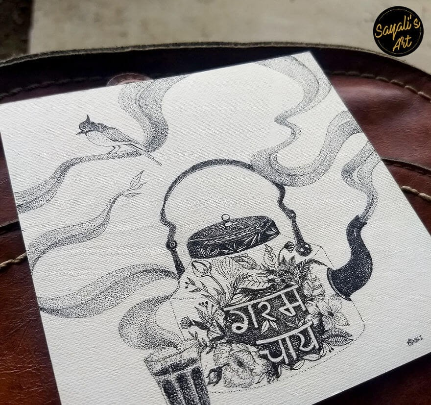 04-Smell-Of-The-Chai-Tea-Sayali-Horambe-Stippling-Dots-and-Creating-Drawings-www-designstack-co