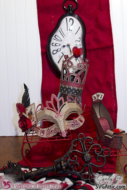 Queen of Hearts crown, mask and shoe