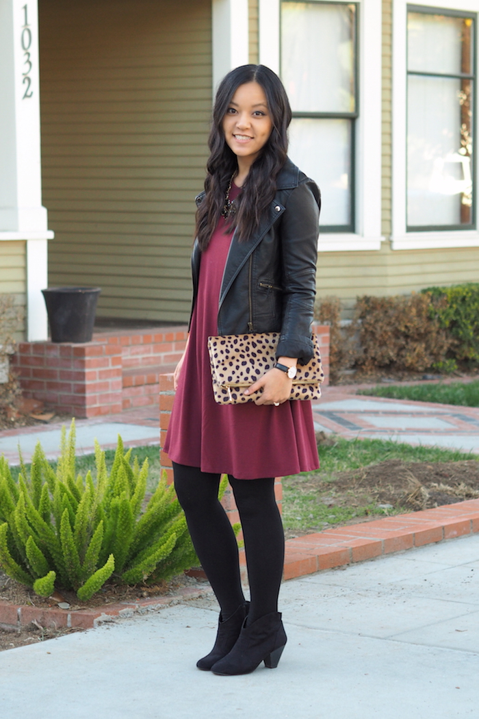 Maroon Dress + Black Leather Jacket + Leopard Print