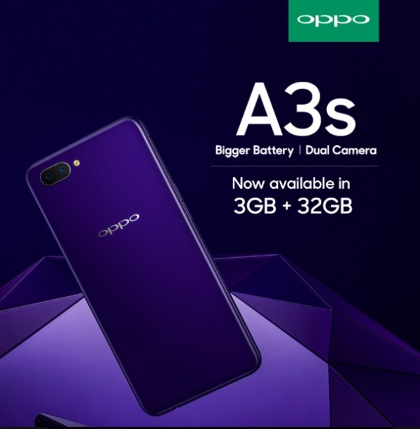 OPPO A3s Now Has 3GB/32GB Variant in India