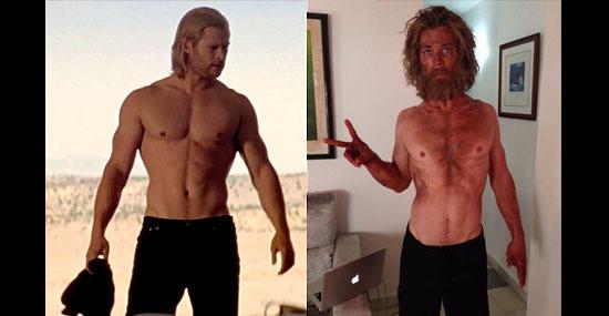 Chris Hemsworth magro para o filme No Coração do Mar - Comparação