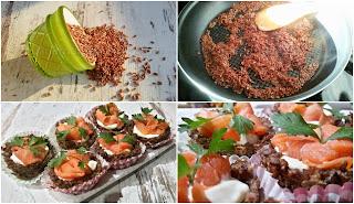 Кошнички от червен ориз с пушена сьомга - рецепта