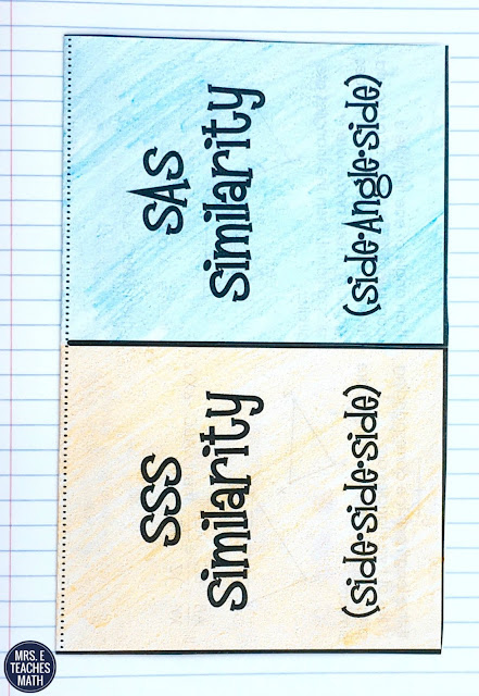 SSS and SAS Similarity Foldable for Geometry - Triangle Similarity