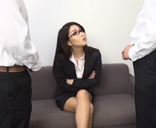 Asian Casting Couch Beautiful Japanese Model With Glasses Threesome