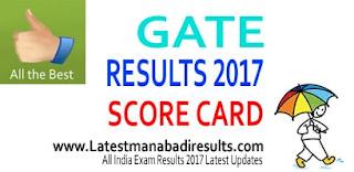 GATE 2017 Results/Scorecard, Manabadi GATE Results 2017 Download