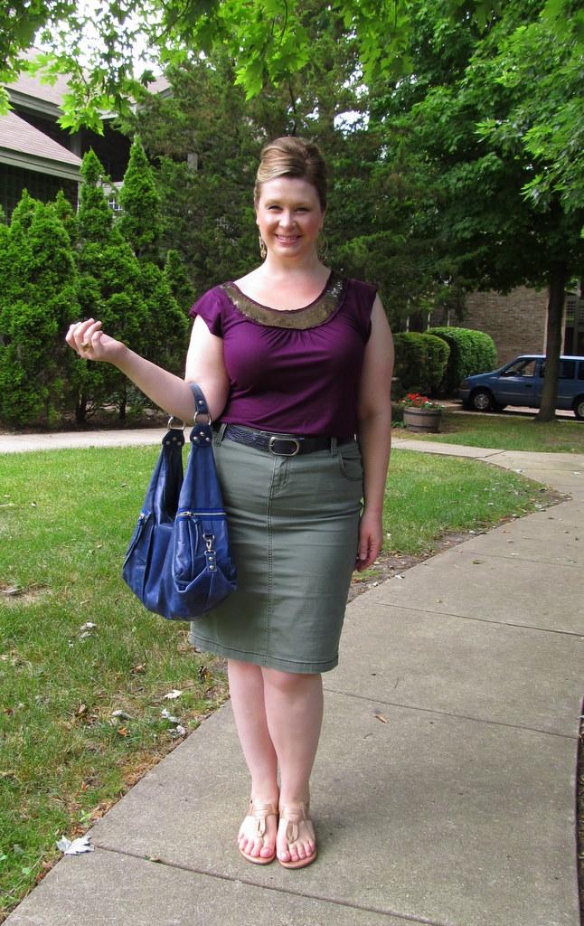 0b1167c9ff7 Sequined bib top - LOFT   Olive washed pencil skirt - Lane Bryant   Navy  belt - Banana Republic   Gold sandals - Moda Spana (via Endless.com)    Handbag ...