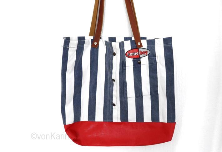 Tasche gestreift mit rotem Tafelstoff - genaeht DIY vonKarin