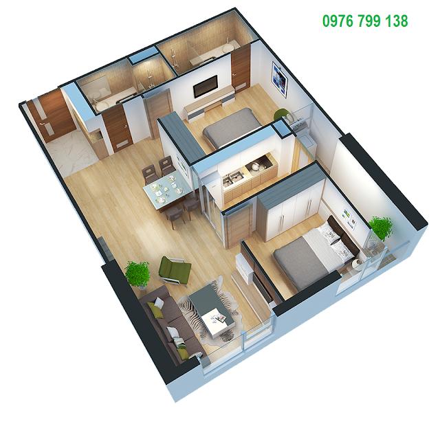 Căn hộ 67 m2 dự án Eco Green City