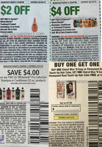 Clairo, Garnier, Tresemme, Big Hair deals coupons