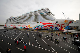 Norwegian Joy after float-out at Meyer Werft shipbuilders at Papenburg, Germany