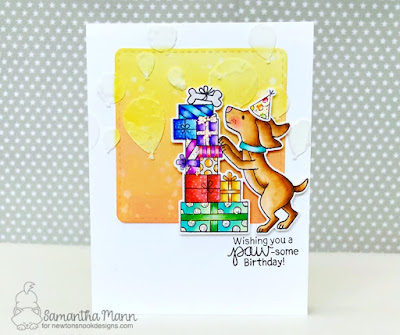 Paw-some Birthday Card by Samantha Mann, Newton's Nook Designs, Distress Oxide Ink, puppy, presents, balloons, #newtonsnook, #birthday, #handmade card