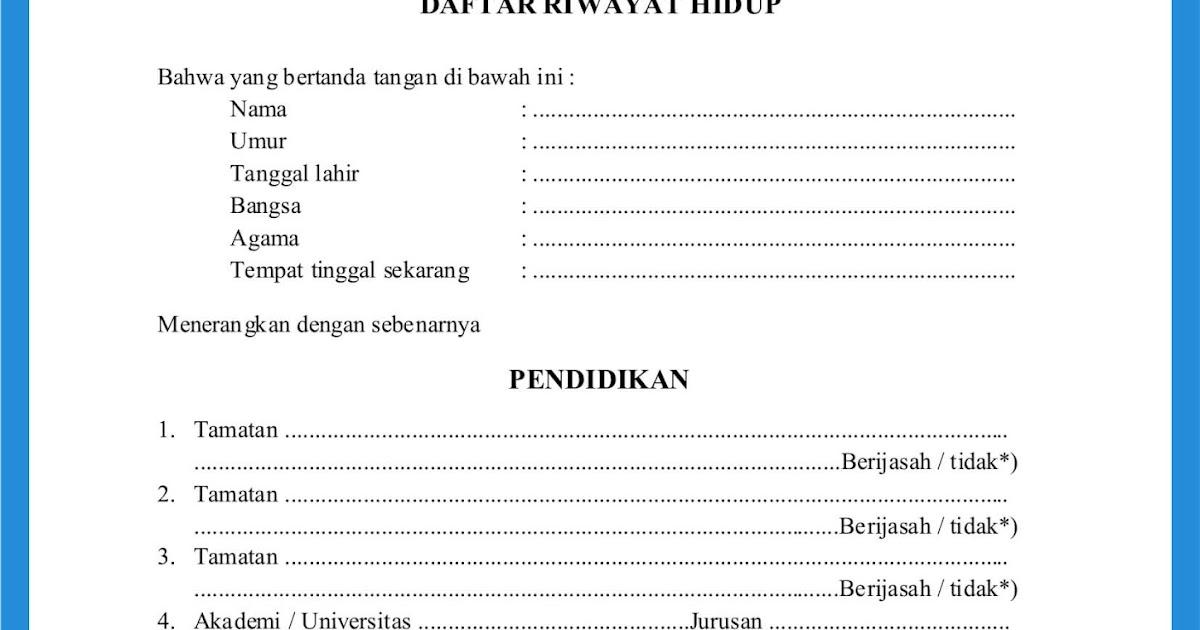 Contoh Daftar Riwayat Hidup File Doc