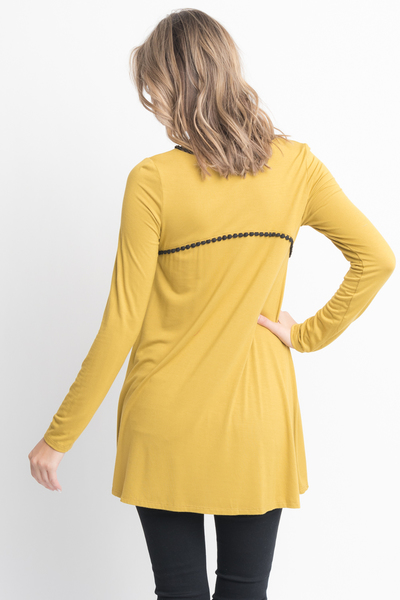 Shop for Mustard pom pom trim long sleeve jersey tunic top on caralase.com