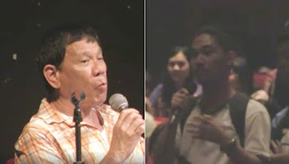 Mayor Rodrigo Duterte answering a UPLB Student's question.