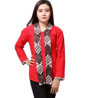 Model kemeja atasan batik kombinasi warna merah
