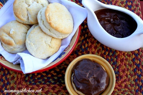 Southern Style Chocolate Gravy with Cream Biscuits