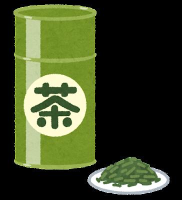 茶筒に入った茶葉のイラスト