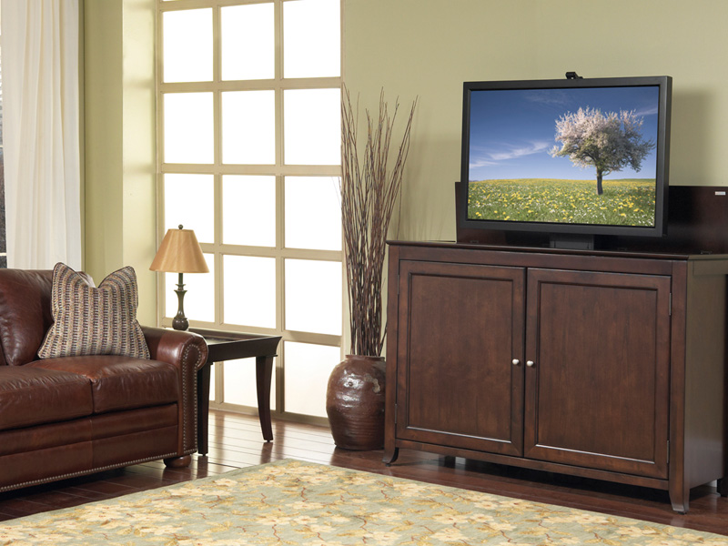 The Classic Style Monterey TV Lift Cabinet In Espresso Tastefully Hides A TV  At A Business