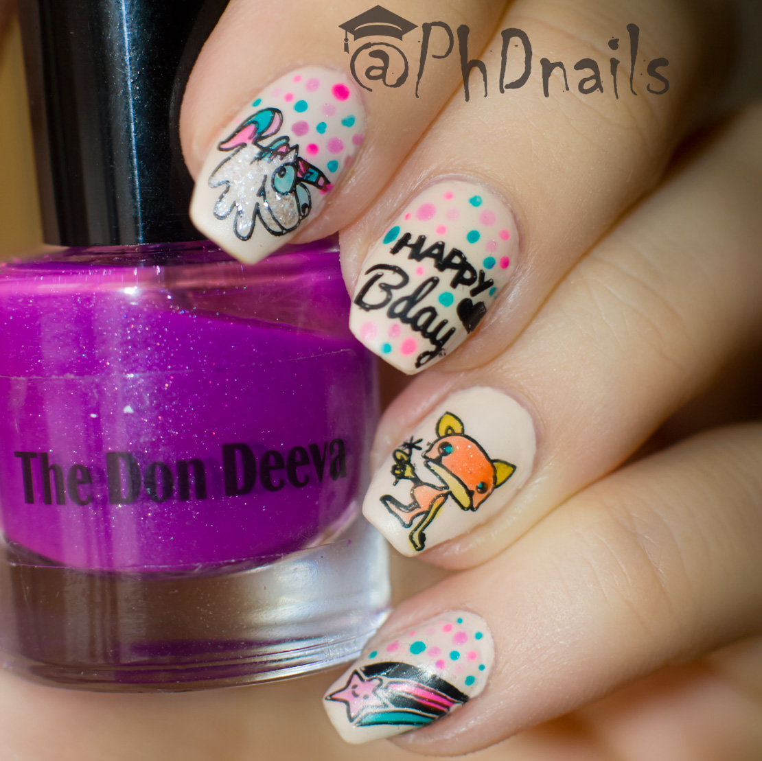"PhD Nails: ""Happy Birthday"" Nail Art With Lead Lighting"